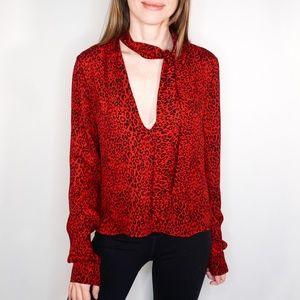 AMIRI  Tie Neck Red Leopard Print Silk Blouse